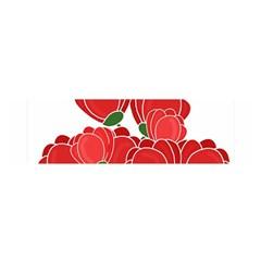 Red Floral Design Satin Scarf (oblong) by Valentinaart