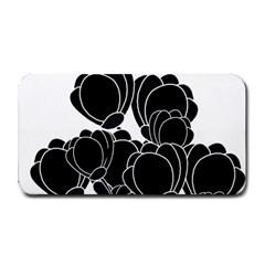 Black Flowers Medium Bar Mats by Valentinaart