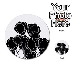 Black Flowers Multi Purpose Cards (round)  by Valentinaart