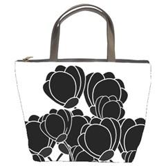 Black Flowers Bucket Bags by Valentinaart