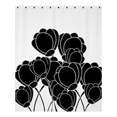 Black Flowers Shower Curtain 60  X 72  (medium)  by Valentinaart