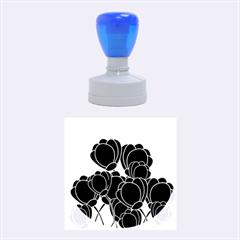 Black Flowers Rubber Round Stamps (medium) by Valentinaart