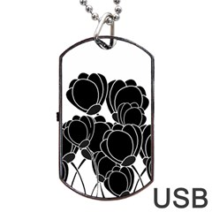 Black Flowers Dog Tag Usb Flash (two Sides)  by Valentinaart