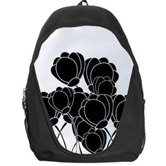 Black flowers Backpack Bag by Valentinaart