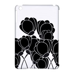 Black Flowers Apple Ipad Mini Hardshell Case (compatible With Smart Cover) by Valentinaart