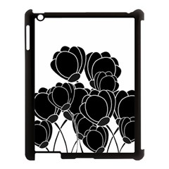 Black Flowers Apple Ipad 3/4 Case (black) by Valentinaart
