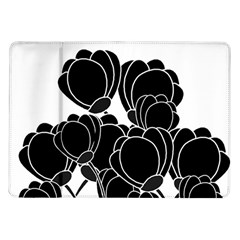 Black Flowers Samsung Galaxy Tab 10 1  P7500 Flip Case by Valentinaart