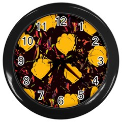 Yellow Roses  Wall Clocks (black) by Valentinaart