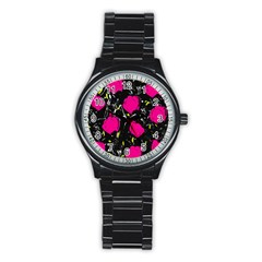 Pink Roses  Stainless Steel Round Watch by Valentinaart