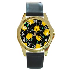 Yellow Roses 2 Round Gold Metal Watch by Valentinaart