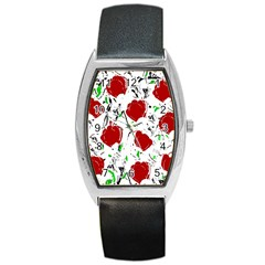 Red Roses 2 Barrel Style Metal Watch by Valentinaart