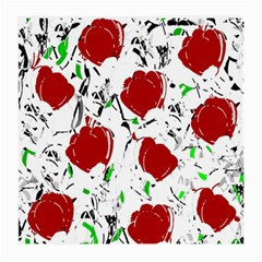 Red Roses 2 Medium Glasses Cloth (2 Side) by Valentinaart