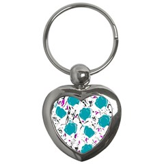 Cyan Roses Key Chains (heart)  by Valentinaart