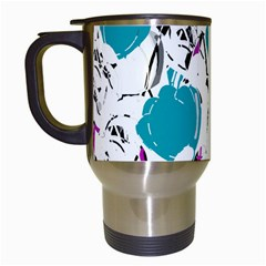 Cyan Roses Travel Mugs (white) by Valentinaart