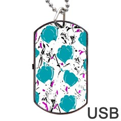 Cyan Roses Dog Tag Usb Flash (one Side) by Valentinaart