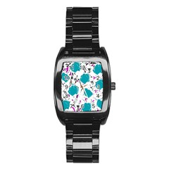 Cyan Roses Stainless Steel Barrel Watch by Valentinaart