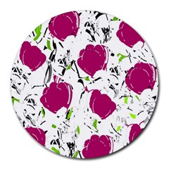 Magenta Roses Round Mousepads by Valentinaart