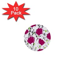 Magenta Roses 1  Mini Buttons (10 Pack)  by Valentinaart