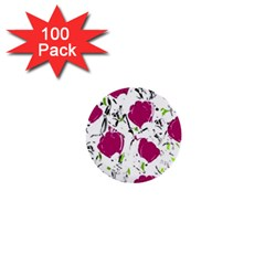 Magenta Roses 1  Mini Buttons (100 Pack)  by Valentinaart