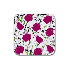 Magenta Roses Rubber Coaster (square)  by Valentinaart