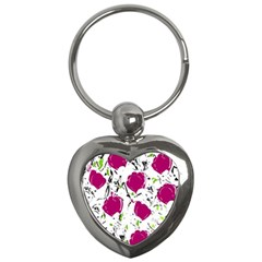 Magenta Roses Key Chains (heart)  by Valentinaart