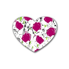 Magenta Roses Rubber Coaster (heart)  by Valentinaart