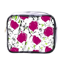 Magenta Roses Mini Toiletries Bags by Valentinaart