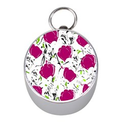 Magenta Roses Mini Silver Compasses by Valentinaart