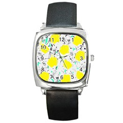 Yellow Roses 2 Square Metal Watch by Valentinaart