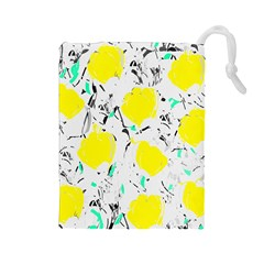 Yellow Roses 2 Drawstring Pouches (large)  by Valentinaart
