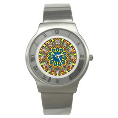 Yellow Flower Mandala Stainless Steel Watch by designworld65