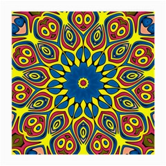 Yellow Flower Mandala Medium Glasses Cloth (2 Side) by designworld65