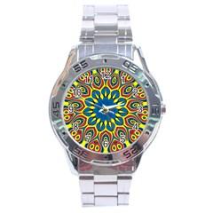 Yellow Flower Mandala Stainless Steel Analogue Watch by designworld65