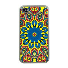 Yellow Flower Mandala Apple Iphone 4 Case (clear) by designworld65