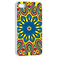 Yellow Flower Mandala Apple Iphone 4/4s Seamless Case (white) by designworld65