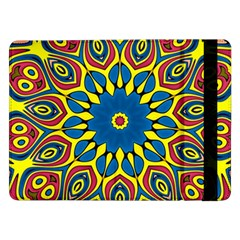 Yellow Flower Mandala Samsung Galaxy Tab Pro 12 2  Flip Case by designworld65