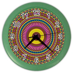 Ornament Mandala Color Wall Clocks by designworld65