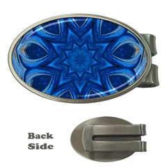 Blue Blossom Mandala Money Clips (oval)  by designworld65