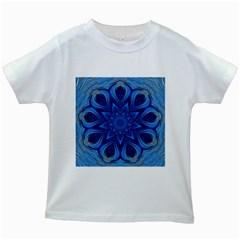 Blue Blossom Mandala Kids White T Shirts by designworld65