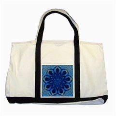 Blue Blossom Mandala Two Tone Tote Bag by designworld65