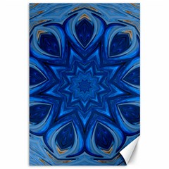 Blue Blossom Mandala Canvas 12  X 18   by designworld65