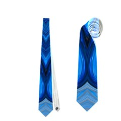 Blue Blossom Mandala Neckties (one Side)  by designworld65