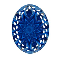 Blue Blossom Mandala Oval Filigree Ornament (2 Side)  by designworld65