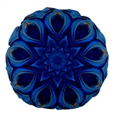 Blue Blossom Mandala Large 18  Premium Round Cushions by designworld65