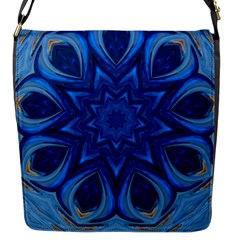 Blue Blossom Mandala Flap Messenger Bag (s) by designworld65