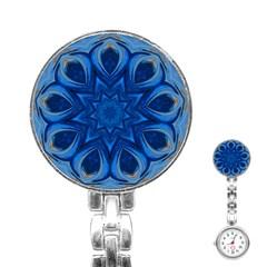 Blue Blossom Mandala Stainless Steel Nurses Watch by designworld65