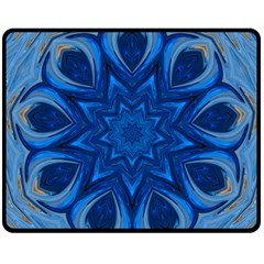 Blue Blossom Mandala Double Sided Fleece Blanket (medium)  by designworld65