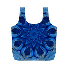 Blue Blossom Mandala Full Print Recycle Bags (m)  by designworld65
