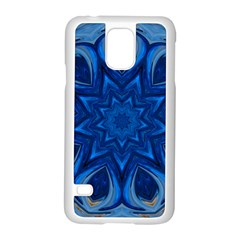 Blue Blossom Mandala Samsung Galaxy S5 Case (white) by designworld65