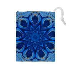 Blue Blossom Mandala Drawstring Pouches (large)  by designworld65